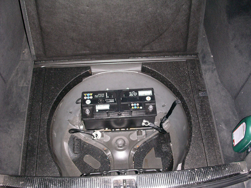 can anyone post pics of of the battery installed in the spare tire area rs6 avant. Black Bedroom Furniture Sets. Home Design Ideas